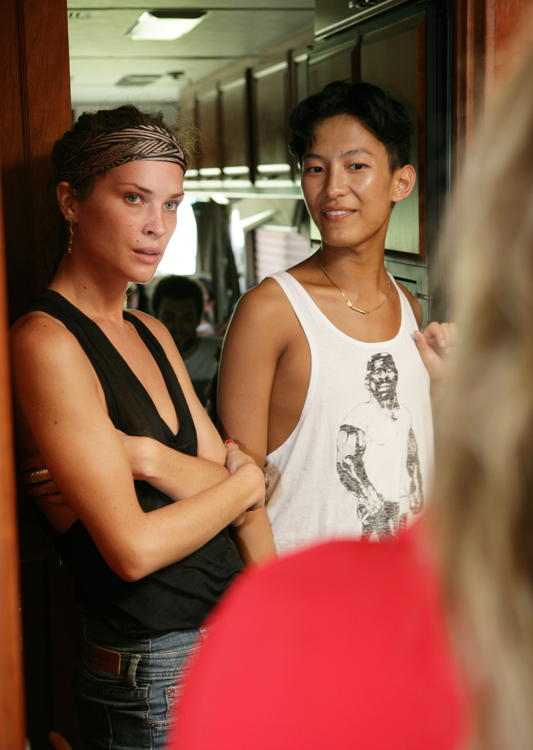 On location with Alexander Wang and Erin wasson